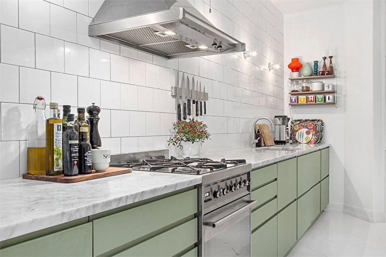 Оливковая кухня в современном стиле - Дизайн интерьера