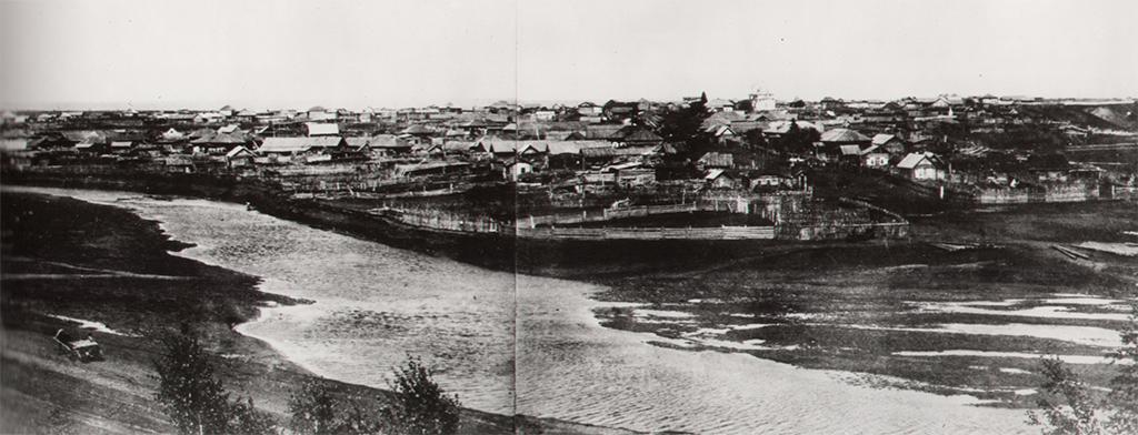 Село Щеглово 1913 год, вид с правого берега р. Искитимка